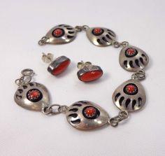 Bear Paw Claw Bracelet Earrings by Virginia John Sterling Silver Coral Link  850 #VirginiaJohn #Chain