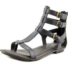 Born Marcia Women  Open Toe Leather Black Gladiator Sandal #Born #Gladiator