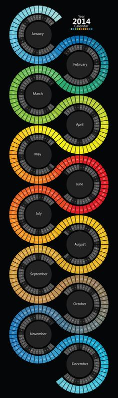 2014 Swirl Spectrum Calendar by Fraz Khalid, via Behance