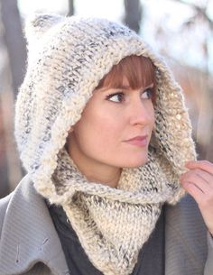 Free Knitting Pattern for Easy Hooded Cowl - Cozy hood by Gina Michele is a quick knit in super bulky yarn.
