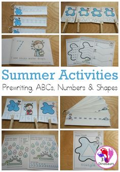 Summer Activities Pack: Prewriting, Shapes, ABCs & Numbers | 3 Dinosaurs Educational Activities For Kids, Preschool Learning Activities, Summer Activities For Kids, Teaching Ideas, Kindergarten Learning, Early Learning, Kids Learning, Abc Tracing, Tracing Shapes