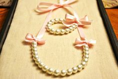 salmon pearl jewelry | ... Beautiful White Pearl with Pink Ribbon Necklace and Matching Bracelet