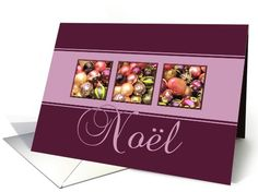 Noel - purple colored ornaments card