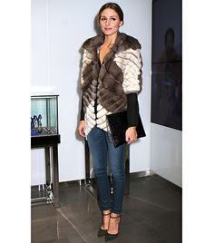 @Who What Wear - Olivia Palermo                 Style Tip: This one's simple, throw on your favorite faux fur jacket and ankle strap heels and you're done. If you want to go the extra mile (it's ok if you don't), try a sleek hairstyle à la Palermo and carry a minimalist clutch.  On Palermo: Dennis Basso jacket; Schutz Irma Ankle Strap Point Toe Pumps ($121)