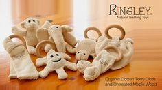 RiNGLEY is the original Canadian natural teether that combines two effective teething tools: untreated Maple wood and 100% organic cotton terrycloth.
