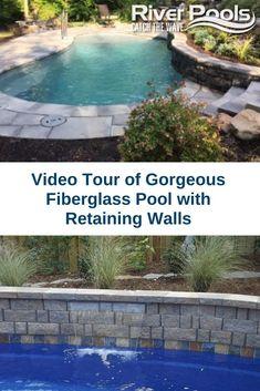 Have a sloped yard? Here's an example of a fiberglass pool with retaining walls! Pool Retaining Wall, Inground Pool Designs, Fiberglass Swimming Pools, Sloped Yard, Pool Accessories, Outdoor Living, Outdoor Decor, Hot Tubs, Pool Houses