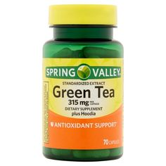 Pack) Spring Valley Green Tea Extract Capsules, 315 mg, 70 Ct Fat Burning Water, Fat Burning Drinks, Fat Burning Foods, Belly Fat Diet, Burn Belly Fat, Lose Belly, Green Coffee Bean Extract, Green Tea Extract, Green Tea Pills