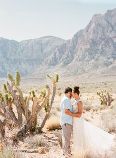 las vegas desert engagement session | Cypress Gown from BHLDN | #BHLDNbride