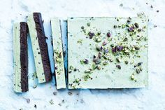 The pure pistachio flavour in this slice comes from an easy homemade pistachio milk, which is perfect with the fudgy cacoa base.