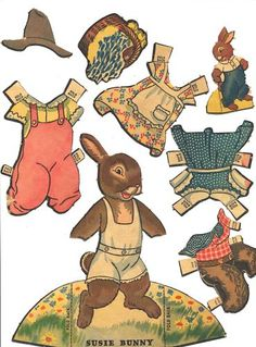 movable easter bunny paper doll 1000 images about easter paper dolls on paper 6940