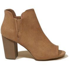 Hollister Madden Girl Fizzle Bootie (€62) ❤ liked on Polyvore featuring shoes, boots, ankle booties, brown, short brown boots, peep-toe booties, peep toe wedge bootie, brown wedge boots and brown ankle boots