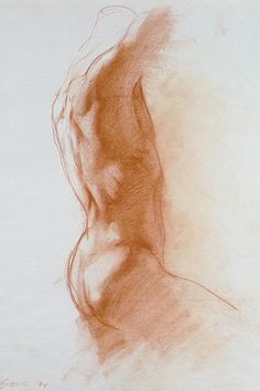 Male torso study by Dan Gheno, professor at the Lyme Academy College of Fine Arts, sanguine chalk, 1994.