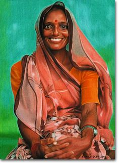 Hindu - Portraits - Photorealistic Coloured Pencil Drawing by Kirrily Duff, Australian Artist Art available for sale online