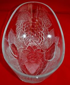 KITCHENALIA CLASSIC! Pressed Glass Fruit Bowl with Moulded Strawberry Decoration