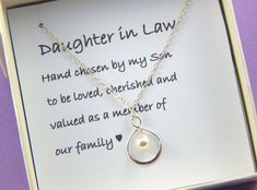 Daughter In Law Necklace,Daughter In Law Gift, Daughter In Law Wedding Gift, Daughter In Law Jewelry, Daughter Gift Daughter In Law Quotes, Daughter In Law Gifts, Cousin Quotes, Future Daughter, Birthday Wishes For Mother, Birthday Quotes For Daughter, Swarovski, Infinity Symbol, Wedding Engagement
