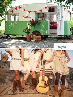Constance Campout. With the trailer and guitar