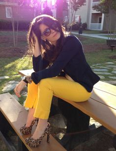 Yellow/Navy/Leopard... love the combo  swaping the yellow pants to a mustard would be perfect for Fall as well!