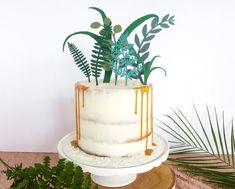 Greenery wedding cake topper.