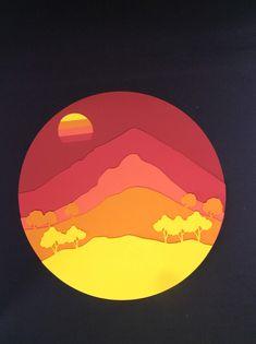 Cuadro decorativo del Cerro Manquehue hecho con papel español. Son varias capas de colores de papel español dando la forma de cerro Manquehue