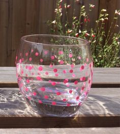 A personal favourite from my Etsy shop https://www.etsy.com/uk/listing/527709232/hand-painted-pink-spotty-tumbler
