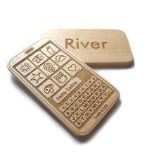 Smartphone personalized wood toy phone geek phone wood play fun. $17.00, via Etsy.