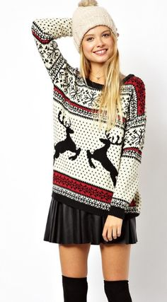 Reindeer sweater...I want a sweater like this, the warm comfy looking kind to wear with skinny jeans or yoga pants.