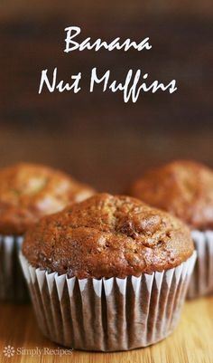 If time and waistline permitted, I could wake up every morning to these banana nut muffins! Banana nut muffin recipe with ripe bananas, walnuts, sugar, egg, flour. On SimplyRecipes.com