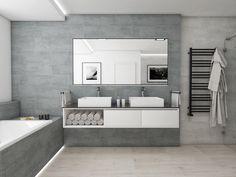 Moderní koupelna HELVETIA | Modern bathroom HELVETIA #bathroom #bath #design #bathroominspiration #koupelna #concrete #beton #woodfloor #drevo #perfectodesign @cz_perfecto