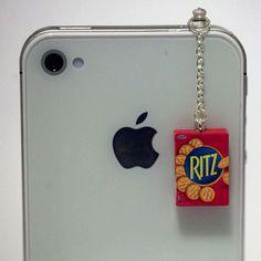 Kawaii RITZ CRACKERS Iphone Earphone Plug/Dust Plug - Cellphone Headphone Handmade Decorations