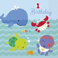 Under the Sea Pals 1st Birthday Lunch Napkins (20 ct)