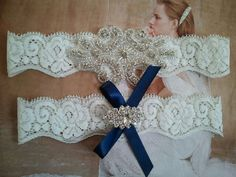 SALE - Wedding Garter, Bridal Garter, Garter - Crystal Rhinestone  on a White Lace with Navy Bow - Style G2084