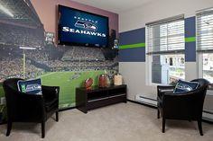 seahawks man or woman cave Seahawks Fans, Seattle Seahawks, Football Rooms, Football Fans, Football Bedroom, Football Decor, Football Crafts, Football Field, Football Season