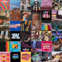 retro 80s wall collage kit! aesthetic, wall collage, dorm decor, colorful, rainbow, vans, skater, electric, stranger things