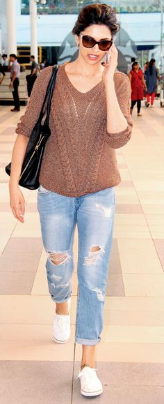 DP in knit & jeans