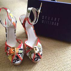 Stuart Weitzman Women's Stout Platform Sandal Stuart Weitzman Women's Stout Platform Sandal, Tropical Jacquard print. NEVER WORN! Stuart Weitzman Shoes Heels