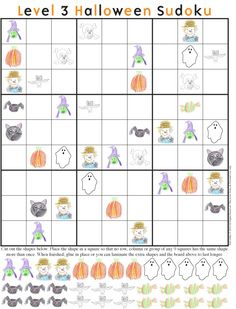Halloween Sudoku Level 3 - have a spooktacular time figuring out where all the extra pieces go! Classroom Halloween Party, Halloween Math, Classroom Crafts, Halloween Activities, Holidays Halloween, Halloween Crafts, Holiday Crafts, Youth Activities, School Holidays
