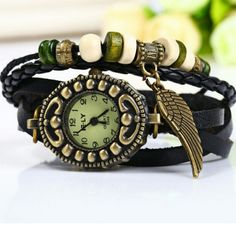 New...quartz watch Leather band and stainless steel watch casing. Buckle closure. Threadz  Jewelry