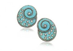 Anuj Shell Earrings in carved turquoise with round brilliant-cut diamonds set in 14k gold with post and clip. Available at Szor.