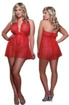 Plus Size Red Babydoll Lingerie Set