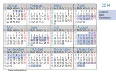 German Calendar Card 2014 with bank holidays and school vacation of Baden-Württemberg.