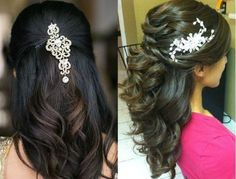 Modern open hairstyle for saree
