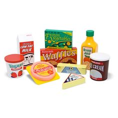 Have to have it. Melissa and Doug Fridge Food Playset $22.99 its going to be so much fun playing kitchen with Tabby