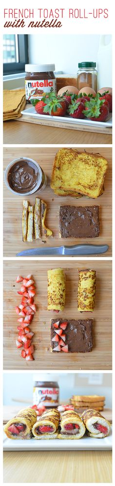 Keep your mornings rolling with this fork-free French toast, Nutella® and strawberries breakfast idea.  First prepare your own French toast recipe. Then remove the crusts. Spread Nutella® on each slice. Sprinkle with cleaned and cut strawberries. Roll them up and hand them out. Your kids will love the all-in-one-bites as much as you'll love the all-in-one-convenience.