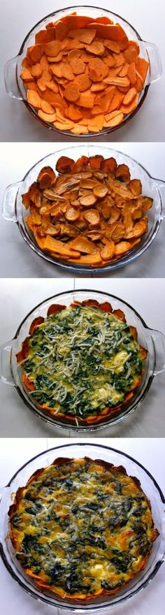 Sweet Potato Crusted Spinach Quiche - Modify ingredients! But love the idea!