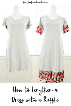 If you have a dress that's just a little too short then you can lengthen a dress with a ruffle! It's an easy and quick fix, and you can use pretty fabric. Sew Your Own Clothes, Altering Clothes, Sewing Clothes, Diy Clothes, Refashioning Clothes, Sewing Blogs, Sewing Tutorials, Sewing Hacks, Sewing Tips