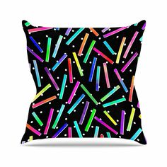 KESS InHouse TC2009AOP03 18 x 18-Inch 'Noonday Design Confetti Party Black' Outdoor Throw Cushion - Multi-Colour