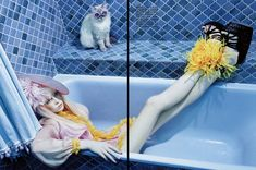 Siri Tollerod in Dolce & Gabbana  photographed with cat friends by Miles Aldridge for Vogue Italia, May 2008.