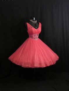 Vintage 1950s 50s Fuschia Hot Pink Beaded Ruched CHIFFON Organza Party Prom Wedding DRESS