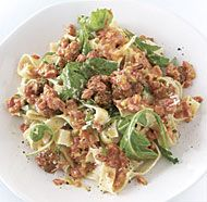 Fresh Tagliatelle with Sausage, Red Peppers, and Arugula