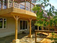 Deck on the second level of the house. #Deck design #custom deck #interlocking #landscaping #Toronto